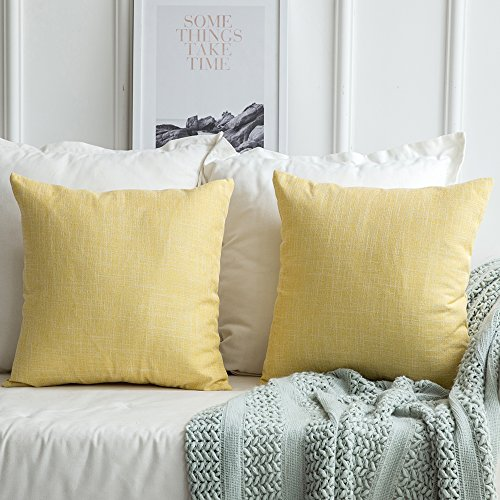 MIULEE Pack of 2 Decorative Linen Burlap Pillow Cover Square Solid Throw Cushion Case for Sofa Car Couch 18x18 Inch 45x45 cm Yellow