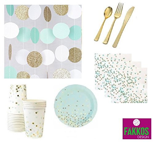 Mint and Gold Party Supplies Elegant Gold Foil Stamp DELUXE For 12 Guests Dessert Appetizer paper Plates, Napkins & Cups Gold Plastic Cutlery & Glittery String ()