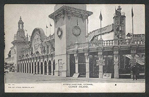 Steeple Chase Park Coney Island NY glitter-added undivided back postcard 1900s