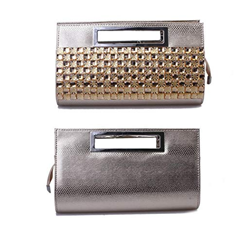 EROUGE Handbags Women Leather Handbags Purse Luxury for Rhinestone Evening Clutch Gold Designer rqw4rY