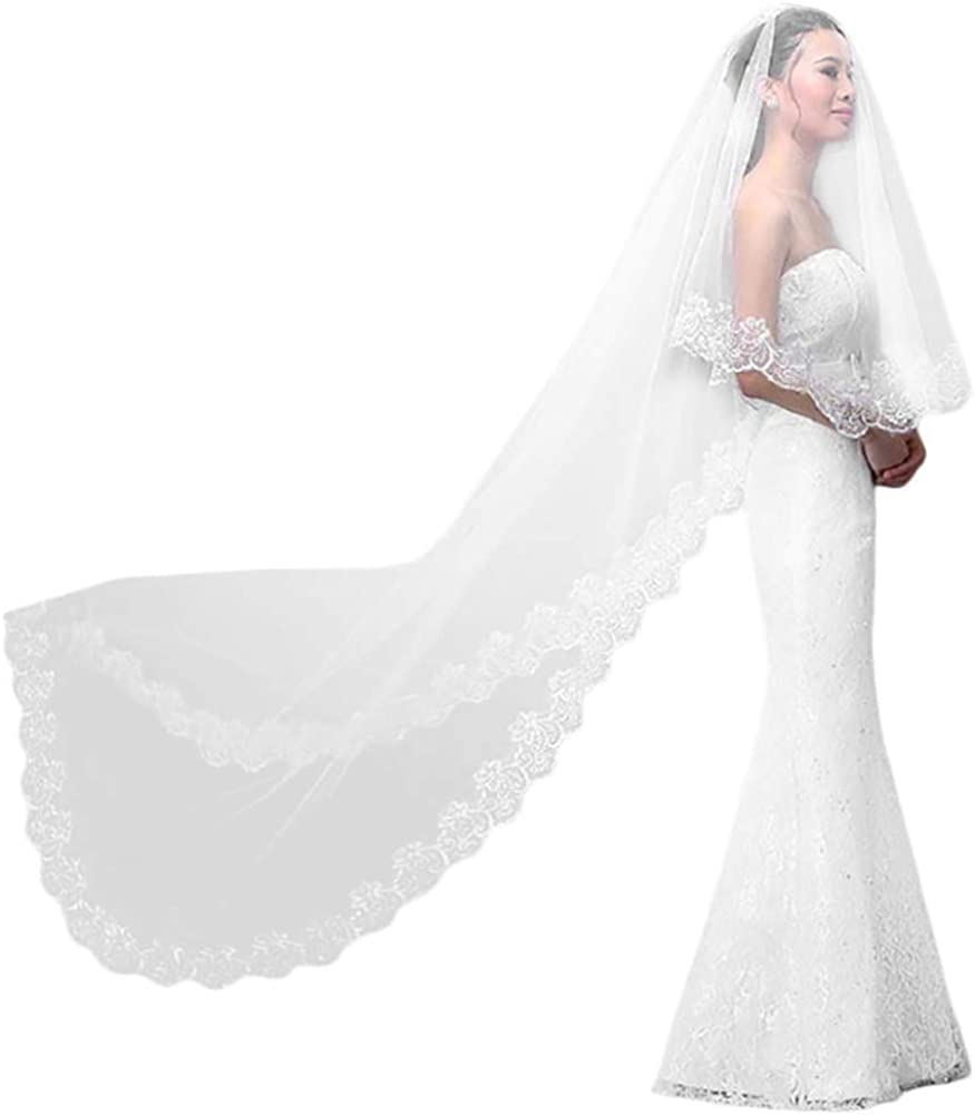 Long Bridal Veil V-UK017 Bridal Accessories Boho Wedding Veil Floral Lace Veil Luxury Wedding Veil- Single Tier Veil