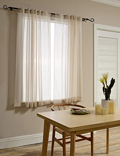 Sheer Room (Mysky Home Back Tab and Rod Pocket Window Crushed Sheer Curtains for Living Room, Wood Beige, 51 x 63 inch, (Set of 2 Crinkle Sheer Curtain)