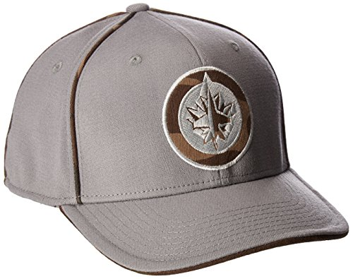 fan products of Reebok NHL Winnipeg Jets Men's SP17 Gray Camo Structured Flex Cap, Gray, Small/Medium