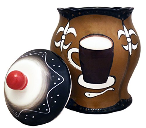 - Tuscany Hand Painted Fleur De Lis Coffee Design, Cookie Jar, 85176 by ACK