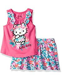 Hello Kitty girls Sleevless Skirt Set With Bows and Sugar Glitter