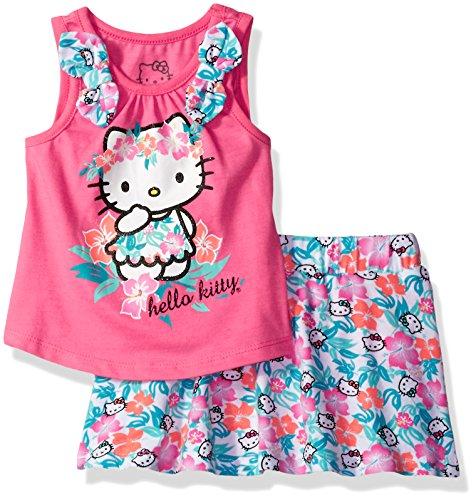 Hello Kitty Skirt (Hello Kitty Little Girls' Skirt Set, Pink, 6)