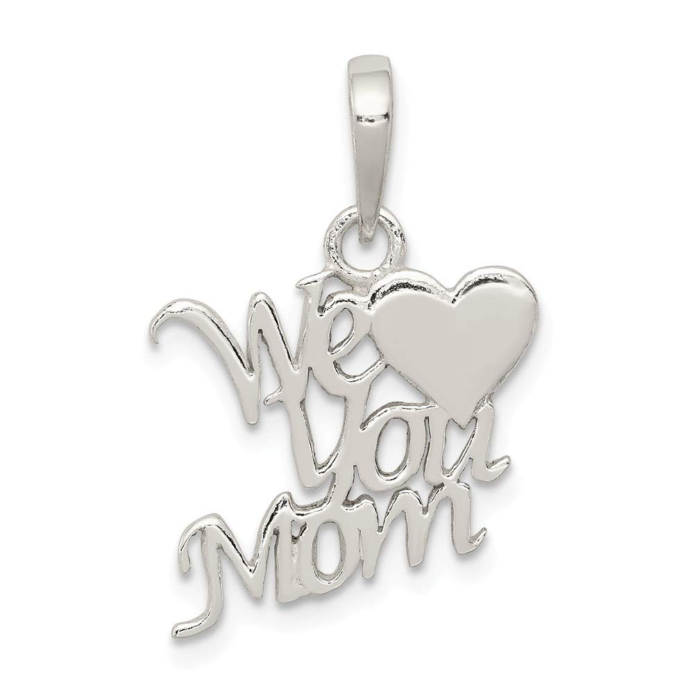Beautiful Sterling silver 925 sterling Sterling Silver Polished We Love You Mom Pendant