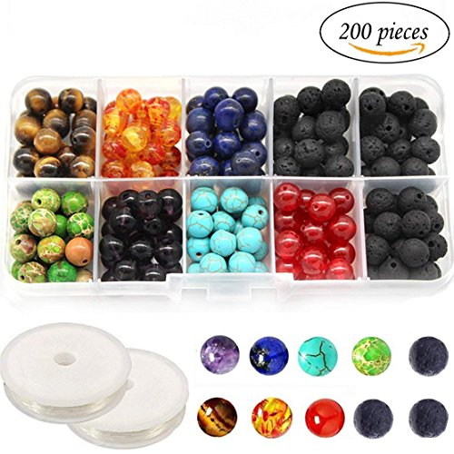 8MM Chakra Beads for Jewelry Making and Black Colored Lava Rock Stone Round Loose Beads Kit Silver Spacer Beads 2 Crystal Strings Assorted Colors for Essential Oil Jewelry Making