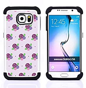 For Samsung Galaxy S6 G9200 - floral pattern flowers purple pink Dual Layer caso de Shell HUELGA Impacto pata de cabra con im????genes gr????ficas Steam - Funny Shop -