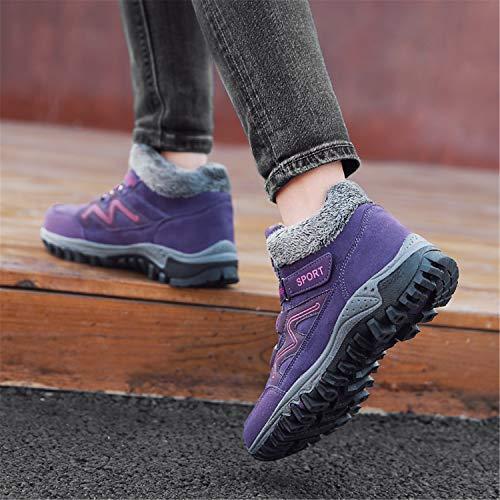 Boots Bottines Imperméable Randonnée Outdoor Bottes Neige Baskets Hiver Tqgold De Homme Fourrure Femme violet A Chaussures Trekking pw8gx6q1P