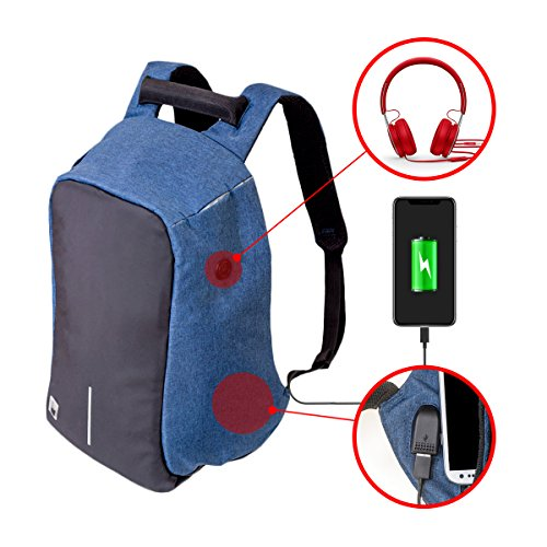 Anti-theft Backpack, Laptop bag with Water Resistant, Business and travel Computer Bag Back Functional External USB Charge Port for Work School Travel (Train Device)