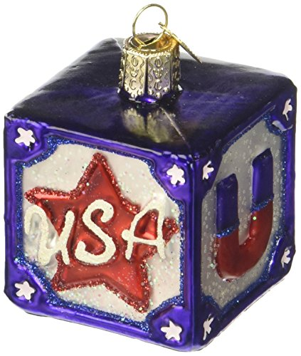 Old World Christmas USA Block Glass Blown Ornament -