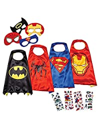 LAEGENDARY Superhero Costumes for Kids - 4 Capes and Masks - Glow Spiderman Logo - Girls Toys - Birthday Gifts and Party Supplies for Kids …