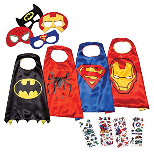[LAEGENDARY Superhero Costumes for Kids - 4 Capes and Masks - Glow Superhero Logo] (Red Halloween Kids Costumes)