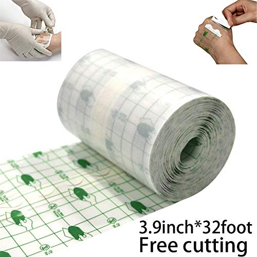 Ewinodon Transparent Stretch Adhesive Bandage Waterproof Bandage Roll Transparent Film Dressing Second Skin (3.9inch*32foot) ()