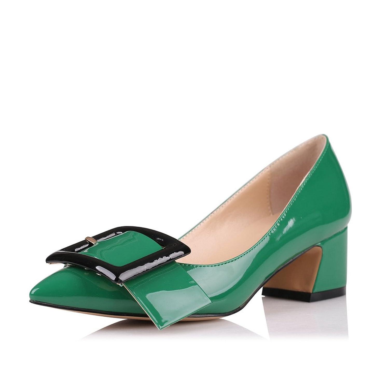 Soireelady Damen Slingback Pumps,Spitz Flach Sandalen Low Heel,2cm Knöchelriemchen Mitte Heel Sandalen Grün 39