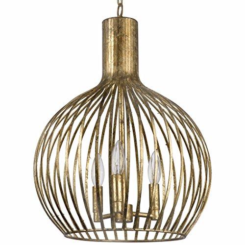 Rajah Hollywood Regency Antique Gold Metal 3 Light Cage Pendant