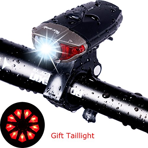 USB Rechargeable Bike Light Set, West Biking 300 Lumens Super Bright Bicycle Cycle Accessories Reflector Front Led Lights for Mountain Road Adults Kids Safety Cycling Headlamp, FREE Tail Light -  Yopoon, 2A-PJ-YP0701156