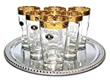 Italian Collection 'Pulsar' 12 oz Crystal Highball Beverage Glasses 24K Gold-Plated