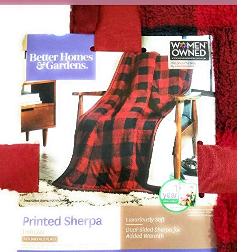"Better Homes and Garden Sherpa Throw Red Plaid Blanket 50""x 60"" from Better Homes and Garden"