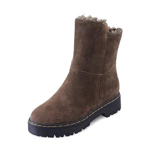 XFentech Botas Nieve Tacon Invierno - Outdoor Lace Up Botines Militares Botas Trekking Forro Zapatos Negros