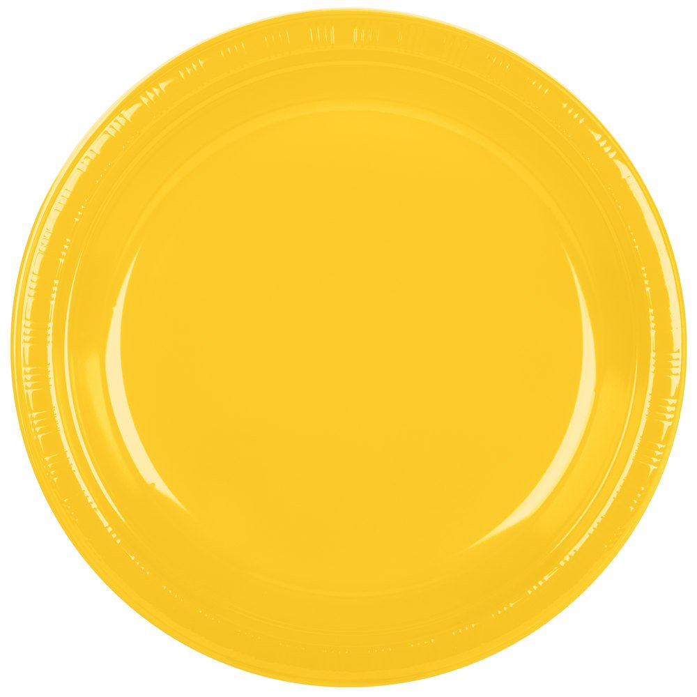 Creative Converting 28102131B 10'' School Bus Yellow Plastic Plate - 50/Pack