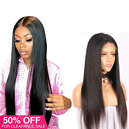 360 Lace Frontal Malaysian Wig Straight Wave Brazilian Human Hair Wigs Pre Plucked 360 Lace Front Wigs With Baby Hair Bleached Knots For Women Virgin Remy Human Hair Wigs 150% Density 1b(18inch)