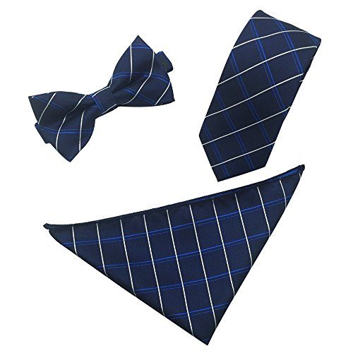 Ainow Mens Fashion Polyster Skinny Neck ties and Bowtie Pocket Square 3pcs Set (Navy Blue White Striped)