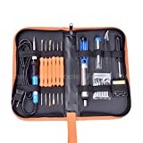 Soldering Iron Kit, FOME 60W 110V Adjustable Temperature Electric Soldering Iron Kit with Welding Tool and Accessories Tweezers Iron Tips Double-sided Solder Assist Tools and PU Carrying Bag