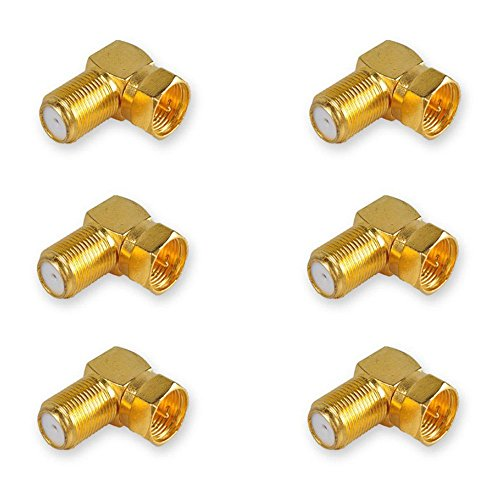 DCFun Gold Plated F-Type Right Angle Adapter - Female to Male Connector (Ideal Coaxial)