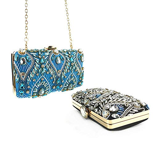 Frizione Tracolla Blue Donna Per Con Blu Bridge Crossbody Diamante colore Borsa A Blu Shopping Catena HqIxT0pIw