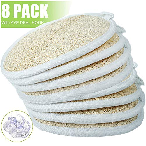 - Exfoliating Loofah Sponge Pads (Pack of 8) - Large 4x6-100% Natural Luffa and Terry Cloth Materials Loofa Sponge Scrubber Body Glove - Men and Women