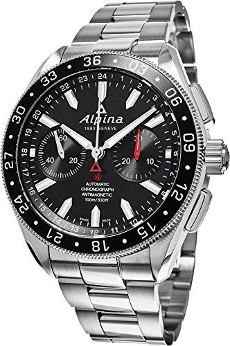 Alpina 4 Chronograph Automatic Black Dial Steel Mens Watch AL-860B5AQ6B