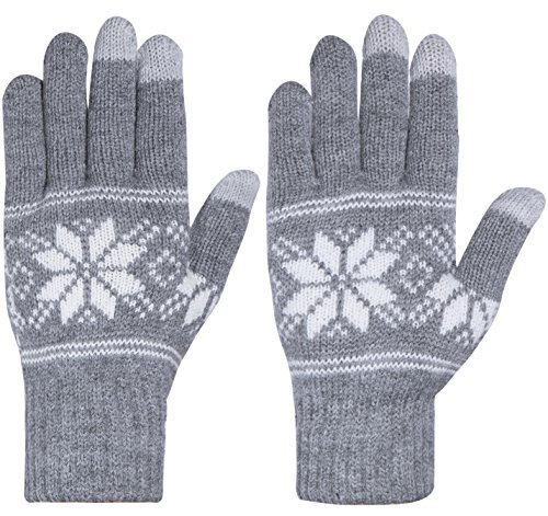 Chalier Womens Winter Warm Thick Knit Phone Texting Touch Screen Gloves Mittens, Gray, One Size (Gloves Knit Women)