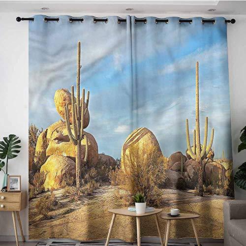 XXANS Grommet Window Curtains,Saguaro,Cactuses Boulders Under Sun,Room Darkening, Noise Reducing,W96x72L