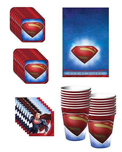 Superman Party Supplies Pack Including Plates, Cups, Napkins and Tablecover - 16 Guests -