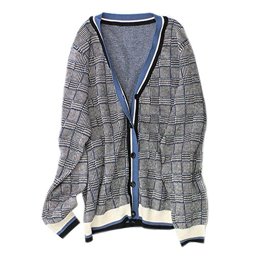 Cashmere Print Cardigan - VenuStar Petite Women's Plaid Print Long Sleeve Cashmere Wool Open Front Cardigan Sweater (S, 01-Grey+Blue)