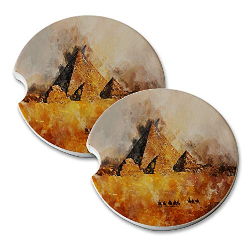 New Vibe Great Pyramids Giza - Round Absorbent Natural Stone Car Coaster Set (Set of 2) Auto Drink Coasters