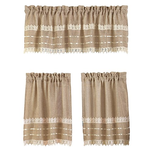 Country-style Burlap Lace Curtain Set, 30″ X 36″ Tier