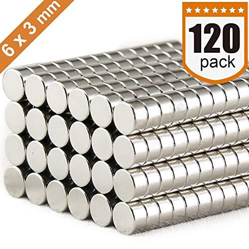 DIYMAG 6x3mm Refrigerator Premium Brushed Nickel Fridge, Office Magnets, Silver, ()