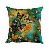 Fxbar Colorful Butterfly Painting Throw Cushion Covers, Elegant and Fashionable Waist Pillow Case Natural Style Breathable Pillow Shell (B)