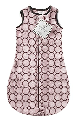 SwaddleDesigns Sleeping Sack with 2-Way Zipper, Cozy Brown Mod Circles on Pastel Pink, 3-6MO