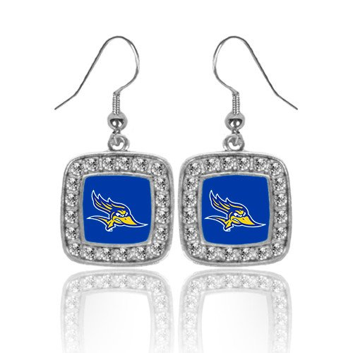 Primary Logo Earrings (Cal State Bakersfield Crystal Studded Square Pendant Silver Dangle Earrings 'Primary Logo')
