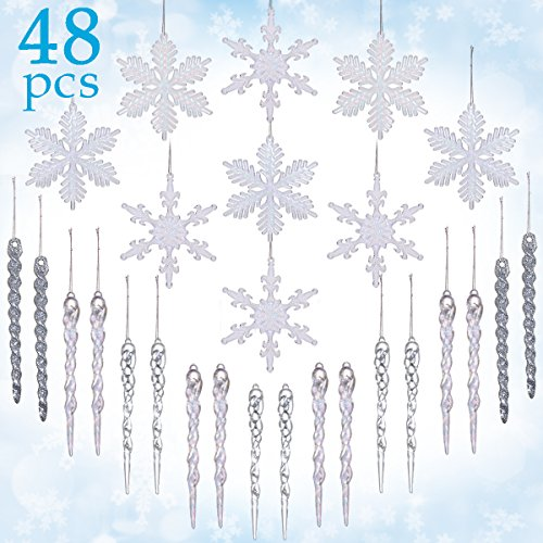 LimBridge 48 Pack Chrismtas Tree Hanging Crystal Clear Snowflakes Glitter Silver Icicles Shatterproof Ornament Decoration - Ornaments Crystal Christmas Tree