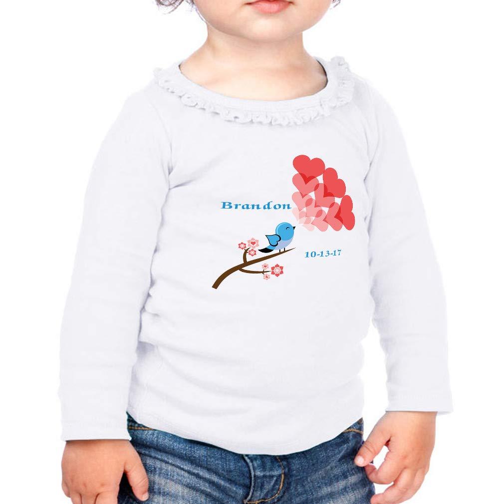 Custom Birds Red Hearts Cotton Girl Toddler Long Sleeve Ruffle Shirt Top