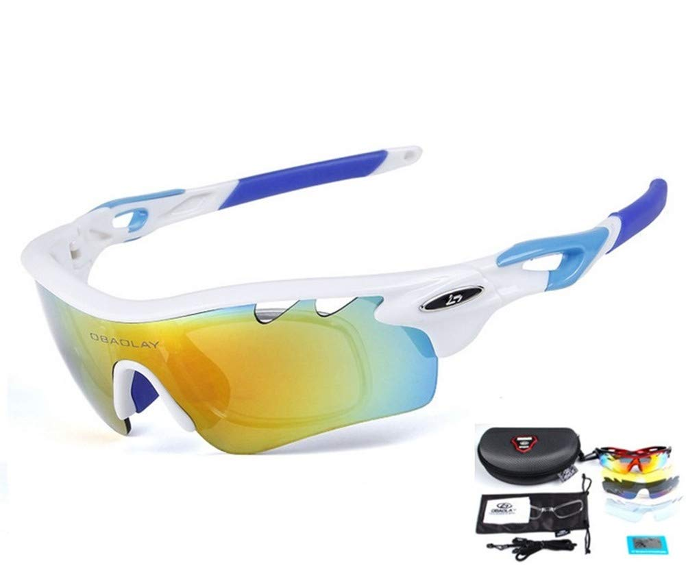 Baselay Polarized Sports Sunglasses with 5 Interchangeable Lenes UV400 Sun Glasses for Men Women Youth Cycling Running Driving Fishing Golf Baseball TAC Goggles (White/Blue)