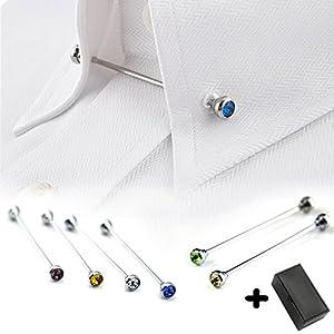 Geek-M Tie Collar Bar Pin Set for Men Rhinestone Fashion Collar Clips 6 Pcs