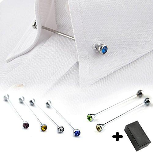 Tie Collar Bar Pin Set for Men Rhinestone Fashion Collar Clips 6 Pcs (Rhinestone Pin Bar)
