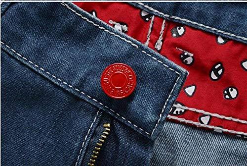 Uomo Marea Europa Dritto Sport Nuovo Tasca Slim Patch Bicchierini Denim Comodo Ricamo America Ginocchio Estate Pantaloni Blau Battercake Cotone All'aperto Jeans Gioventù E In Nge F5aqqC