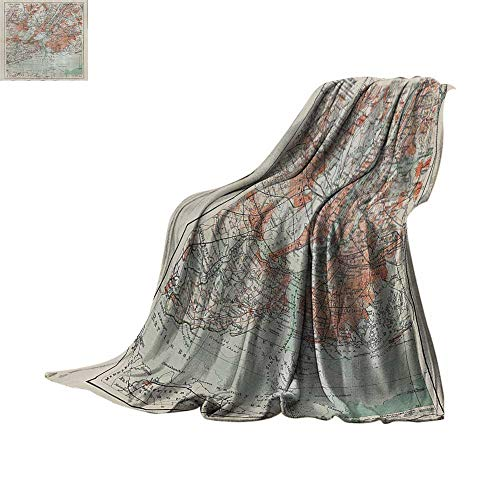 Lightweight Blanket NYC Decor Collection,New York Old Map From The End of 19th Century Antiques History Historical Symbol,Coral Green Beige Print Summer Quilt Comforter Bed or Couch ()